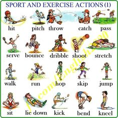 Sport and exercise action verbs English For Beginners, English Tips, English Lessons, English Writing, English Study, Learn English, English Spelling, English Words, English Grammar