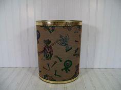 Vintage Fabric Upholstered Library Metal Waste Bin by DivineOrders, $27.00