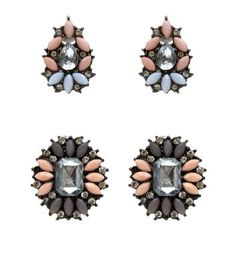 2 Pack Pink Opaque Stone Stud Earrings