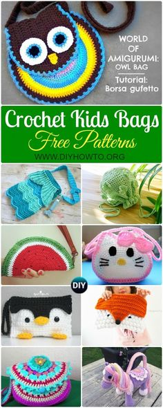 Collection of Crochet Kids Bags Free Patterns & Instructions: Crochet Bags for Children, esp little girls. Animal bags, fruit bags, shoulder bags, drawstring bags via DIYHowTo Free Form Crochet, Crochet Gratis, Cute Crochet, Crochet For Kids, Crochet Toys, Crochet Fruit, Crochet Children, Crochet Slippers, Crotchet