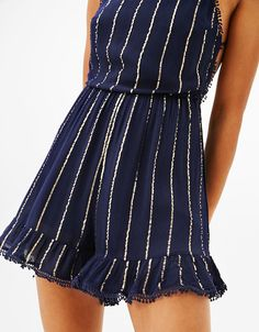 Short strappy jumpsuit with metallic stripes | Bershka #jumpsuit #short #stripes #metallic #woman #bershka