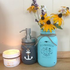 """Another custom order for a Lovie that wanted her jars to feel """"beachy""""  #kjcreations #paintinglife #loveit #masonjars Upcycling Projects, Soap Dispenser, Mason Jars, Upcycle, Painting, Soap Dispenser Pump, Upcycling, Upcycled Crafts, Painting Art"""