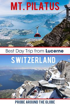 A day trip to Mt. Pilatus from Lucerne in Switzerland is a must-do if you like scenic views across the lakes and mountains and enjoy a ride on the steepest cogwheel train in the world and the airlift. I explain all about organizing the most scenic day trip from Lucerne by train and boat up Mt. Pilatus in Switzerland #switzerland #mtpilatus #luzern #lucerne #pilatuslucerne #practicaltraveltips