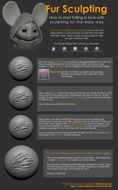 ArtStation - Fur Sculpting Tutorial, Stevie Cole Zbrush Tutorial, 3d Tutorial, Sculpting Tutorials, Blender Tutorial, Game Concept, Character Modeling, Just The Way, Design Reference, Fur