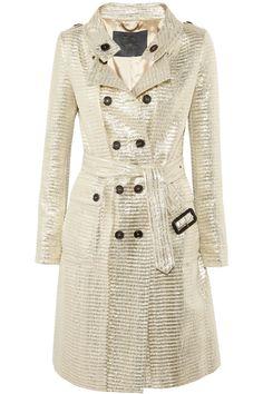 Burberry Prorsum|Metallic jacquard trench coat|NET-A-PORTER.COM