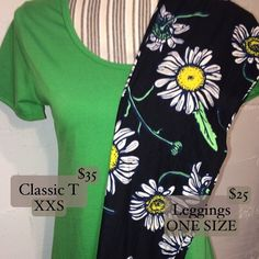 Outfit of the day 4: XXS Classic T, OS leggings! These beautiful daisy leggings are perfect for spring and would make beautiful capri's for summer!! Paired with this green classic T, the green in the leggings pops! $60 plus shipping and tax! #lularoe #lularoelove #lularoeaddict #lularoestyle #lularoeclassictee #lularoeleggings #ootd #outfitinspiration #outfitoftheday #outfitideas #outfits #outfit