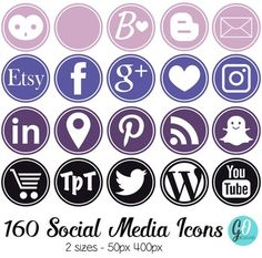 160 Circular Social Media Icons with a solid white border.Pink, violet, purple…