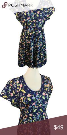 """Vtg Lanz of Salzburg Ribbon Trim Blue Floral Dress Vintage Lanz of Salzburg Button Front Blue Floral With ribbon border detail And tie back waist Approx XL   ?------measurements------- (all taken with the garment laying flat)  Chest 24"""" Armholes 11"""" Length back of Neck to Hem 40-1/2"""" Waist 20-1/2"""" Hips 32"""" Sweep 36"""" Side tie belt16""""  Fabric Content feels like Cotton or cotton blend Vintage Dresses"""