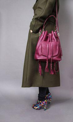 Pink leather bucket bag bucket bag leather bucket bag