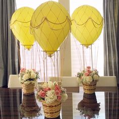 Hot air ballon floral arrangement for baby birthday by Flower By Cher #flowerbycher