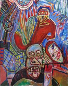 """Lucebert """"der Inkubus"""" (1990)  oils on canvas,145x115cm"""