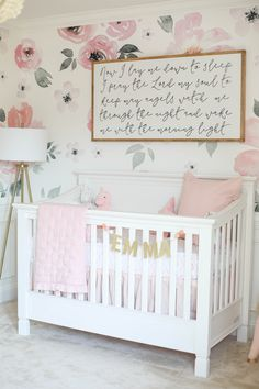Our beautiful floral nursery that is bright and airy with pops of pink! Baby Emma is here so I'm excited to finally share her nursery reveal! Nursery Design, Nursery Wall Decor, Baby Room Decor, Nursery Room, Baby Girl Nursery Themes, Nursery Ideas, Girl Nurseries, Modern Nurseries, Project Nursery