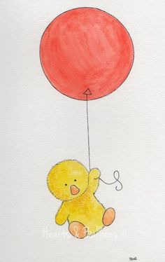 Childrens art watercolour painting PRINT 8 x 10 Fluffy duck and the red balloon. $12.00, via Etsy.