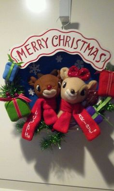 "Rudolph the Red-Nosed Reindeer 13"" Rudolph And Clarice Holiday Christmas Wreath"