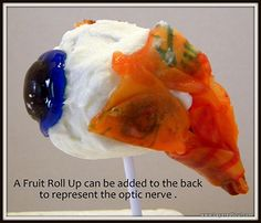 Using a cake ball and candy to illustrate the human eye-gross but probably really effective and yummy!