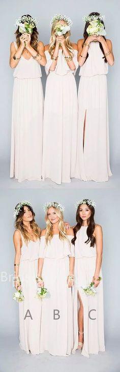 Pretty Long Chiffon Side Slit Bridesmaid Dresses, BW0010#bridesmaids #bridesmaiddress #bridesmaiddresses #dressesformaidofhonor #weddingparty #2020bridesmaiddresses