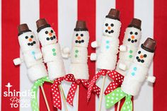 Marshmallow snowmen. I dipped mine in chocolate, but I still think the white is cuter!