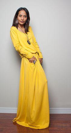 Maxi Dress Yellow Long Sleeve dress : Autumn Thrills by Nuichan