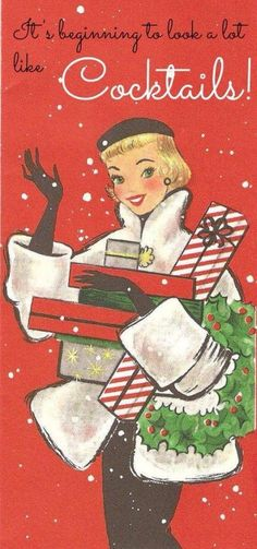 She looks so happy because Walmart wasn't invented yet. Vintage Retro Holiday Card, vintage holiday cards for women, retro modern Christmas greeting cards Noel Christmas, Primitive Christmas, Christmas Images, Christmas Greetings, Winter Christmas, Christmas Crafts, Christmas Decorations, Christmas Posters, Christmas Quotes