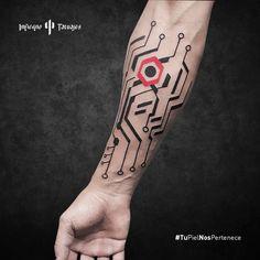 Tech Tattoo, Gaming Tattoo, Geometric Sleeve Tattoo, Geometric Tattoo Design, Life Tattoos, Body Art Tattoos, Sleeve Tattoos, Future Tattoos, Tattoos For Guys