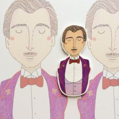 I am a huge fan of Wes Anderson. And I absolutely loved The Grand Budapest Hotel and one of the main characters Gustave H. Could not resist the temptation.. so here it goes. A brooch of Gustave H based on my watercolour illustration of him. :) <3