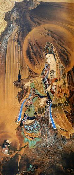 Japanese Buddhist magical merciful goddess aka Guan Yin scroll painting by Kawanabe Kyosai Meiji period. Spiritual Art, Buddhist Art, Korean Art, Tibetan Art, Japanese Painting, Art, Buddhism Art, Eastern Art, Sacred Art