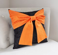 Halloween Pillow Orange Bow on Black Spider Web Pillow by bedbuggs