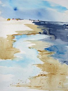 by Michael Arndt, watercolor seascape. Watercolor Ocean, Watercolor Landscape, Landscape Art, Landscape Paintings, Watercolor Sketch, Watercolor Pictures, Simple Watercolor Paintings, Beach Art, Painting Inspiration