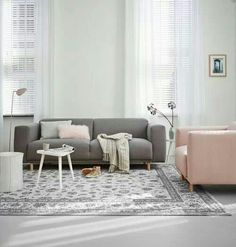 Soft grey and pink sofas in the living room - great combination. Living Room Inspiration, Home Decor Inspiration, Style At Home, Home Living Room, Living Spaces, Piece A Vivre, Beautiful Interiors, Interiores Design, Home Furniture