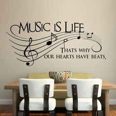 Music is life. That's why our hearts have beats Vinyl Wall Decal Sticker Ar… Music is life. That's why our hearts have beats Vinyl Wall Decal Sticker Art My New Room, My Room, Band Memes, Music Classroom, Wall Decal Sticker, Wall Stickers, Vinyl Decals, Cheap Stickers, Music Quotes