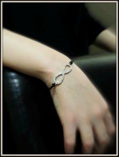 Black Leather Bracelet, Bangles, Bracelets, Infinity, Fashion Beauty, Crystals, Jewelry, Jewlery, Jewels