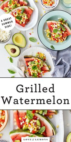 This grilled watermelon is such a fun summer side dish! Juicy, charred watermelon wedges are topped with a tangy, spicy mix of fresh corn, feta, avocado, and basil. | Love and Lemons #grillingrecipes #sidedish #appetizers #watermelon Watermelon Tomato Salad, Grilled Watermelon, Watermelon Recipes, Fruit Recipes, Vegetable Recipes, Summer Recipes, Veggie Fajitas, Vegetarian Recipes, Healthy Recipes