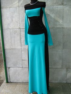 Elegant dress combination of black and turquoise by AniteDesign, $71.00