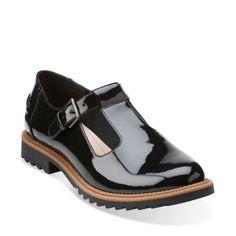 $95 - Griffin Monty Black Patent Leather - Clarks Womens Shoes - Womens Heels and Flats - Clarks - Clarks® Shoes