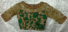 Gold thread work blouse with boat neck with net 7702919644