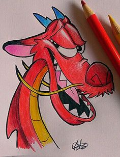 Mushu drawing Leben I Disney Drawings Sketches, Hipster Drawings, Cute Disney Drawings, Cool Art Drawings, Pencil Art Drawings, Easy Drawings, Drawing Sketches, Drawing Disney, Cool Cartoon Drawings