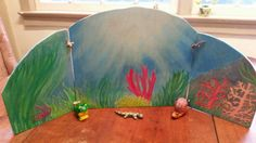 This custom made wood background  makes a great backdrop for waldorf wooden animal play or nature table background.