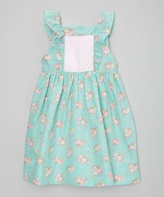 Loving this Mint Flower Flutter-Sleeve Dress - Infant, Toddler & Girls on #zulily! #zulilyfinds