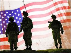 Silhouette of soldiers and U.S. flag