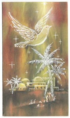 Vintage White Dove over Holy City Christmas Greeting Card