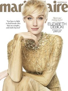 Bold in gold!Elizabeth Debicki shimmers in a jewelled encrusted ensemble for her front co...