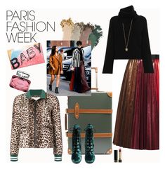 """""""Paris Fashion Week, BABY!"""" by bklou ❤ liked on Polyvore featuring Globe-Trotter, Yves Saint Laurent, Gucci, Veronica Beard, Chloé and vintage"""