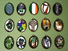 PICK YOUR 5 PCS// CELTIC-ALL THINGS IRISH CHARM SET IN 25X18mm TRINITY ANTIQUE BRASS SETTINGS. $12.50, via Etsy.