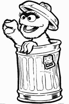 Oscar the Grouch coloring page and many other characters from Sesame ...