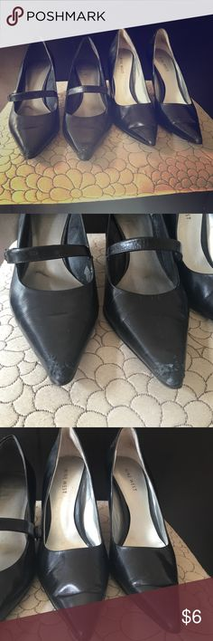 Bundle Black pumps Worn but still looks good.  the heels with the strap has some damage in front.  Don't need these anymore.  Trying to sell both for price of one. Both size 7.5 Nine West Shoes Heels
