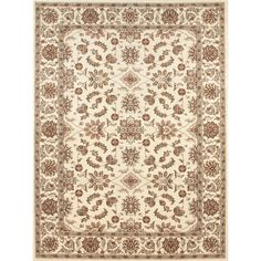 Designed with an ivory background with beige, black and brick accents The Amalfi Oriental  area rug is an elegant addition to any decor. The beautiful and traditional oriental rug was made in a durable and easy to clean heat-set olefin.