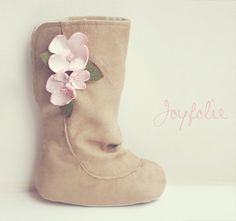 flowered suede boots