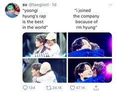 They look up to their hyungs so much. It's so sweeeet Bts Namjoon, Bts Bangtan Boy, Bts Boys, Jimin, Seokjin, Hoseok, K Pop, Bts Facts, Bts Memes Hilarious