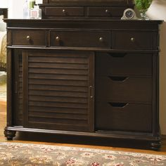 Showcasing turned pilasters and a distressed finish, this 6-drawer dresser offers sophisticated storage whether stowing sweaters and scarves in your master s...