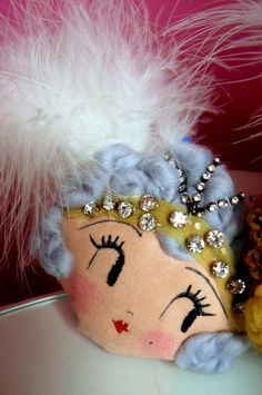 Daisy Buchanan, Flapper Corsage, Wearable Art or Decorative Piece. One-of-a-kind. Dolly Mixture, Felt Patterns, Sewing Patterns, Girly Gifts, Button Art, Rock Crafts, Fairy Dolls, Soft Dolls, Doll Face